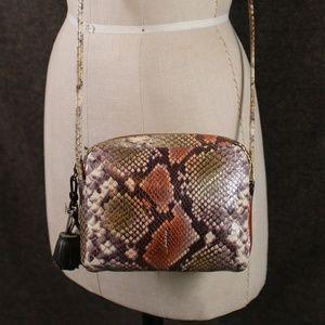 Thacker Python Print Leather Crossbody